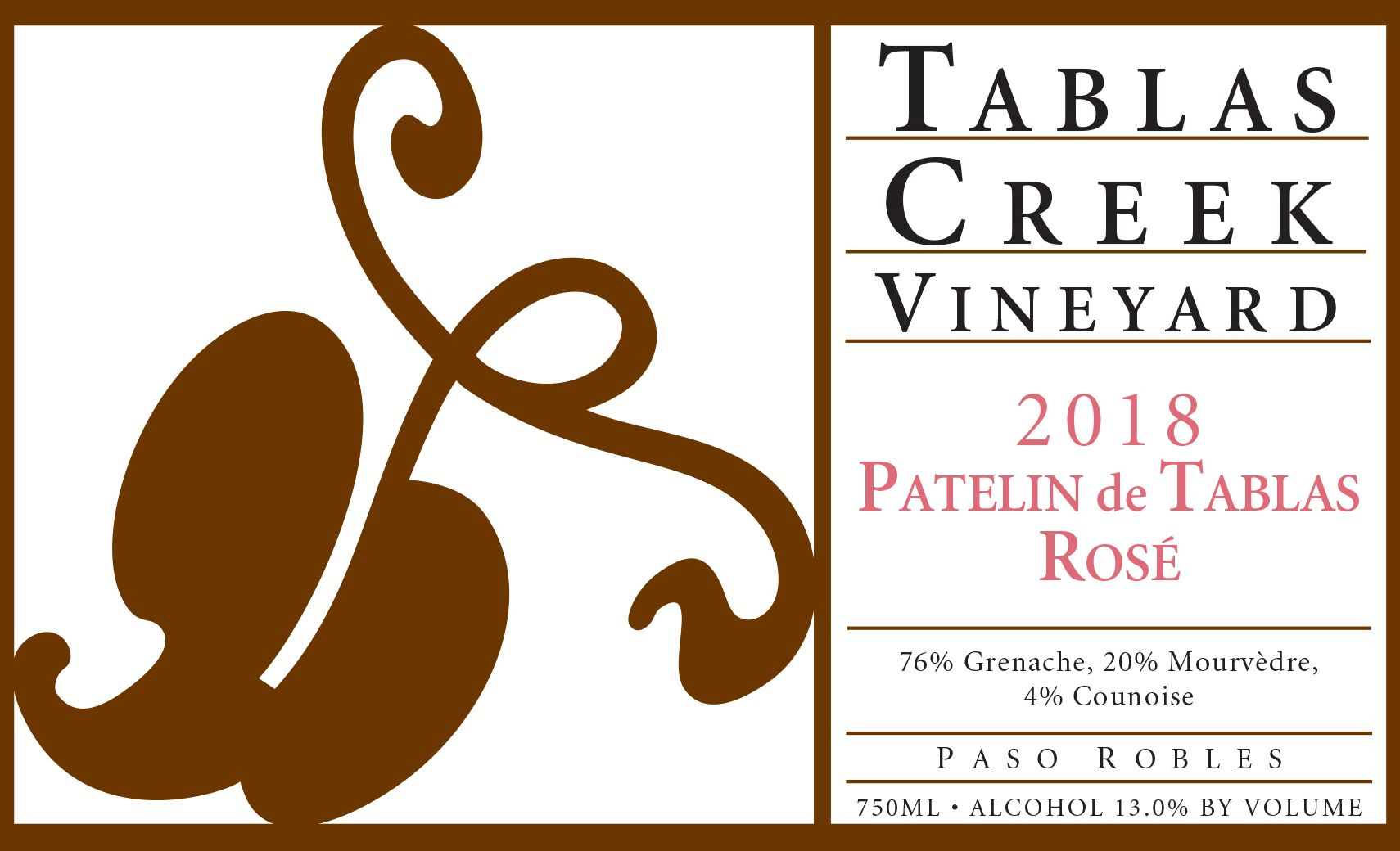 Tablas Creek Patelin de Tablas Rose 2018  Front Label