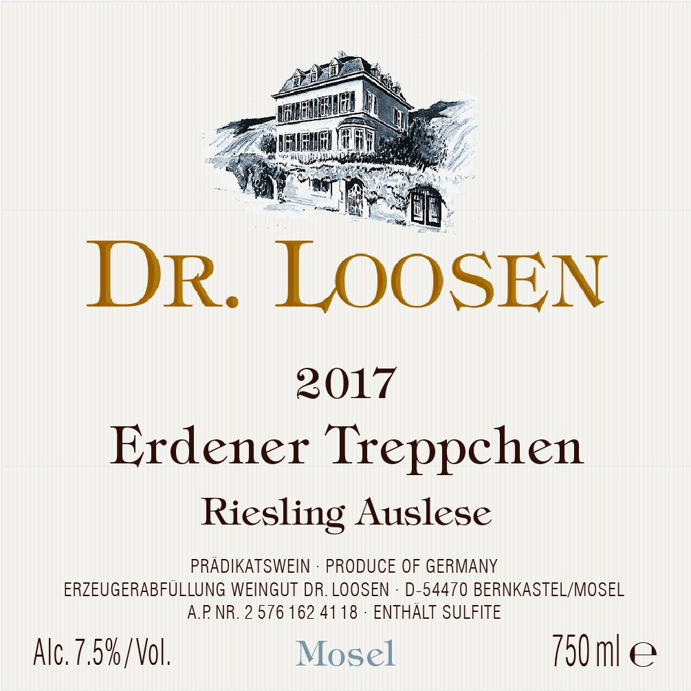 Dr. Loosen Erdener Treppchen Auslese (375ML half-bottle) 2017  Front Label
