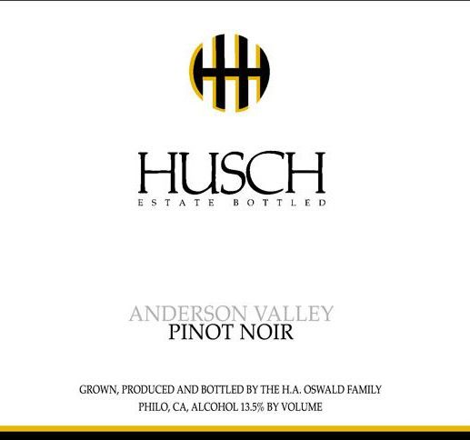 Husch Anderson Valley Pinot Noir 2016 Front Label