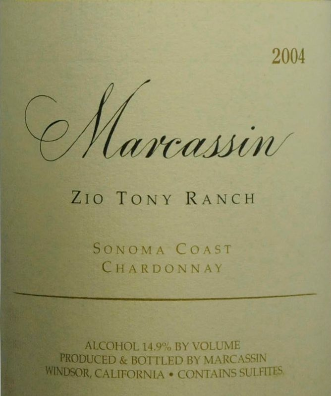 Marcassin Zio Tony Ranch Chardonnay 2004  Front Label