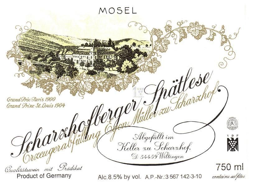 Egon Muller Scharzhofberger Riesling Spatlese 2018  Front Label
