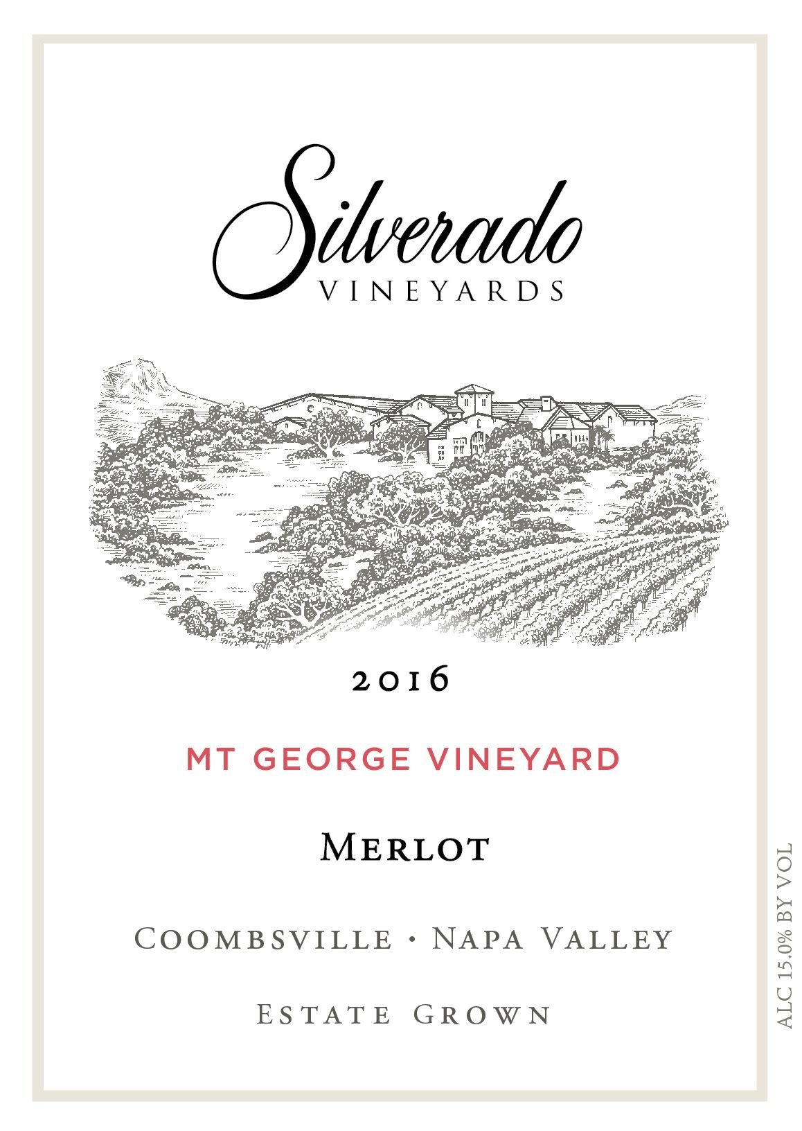 Silverado Mt. George Merlot 2016  Front Label