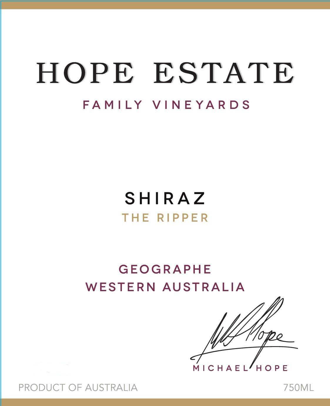 Hope The Ripper Shiraz 2014 Front Label