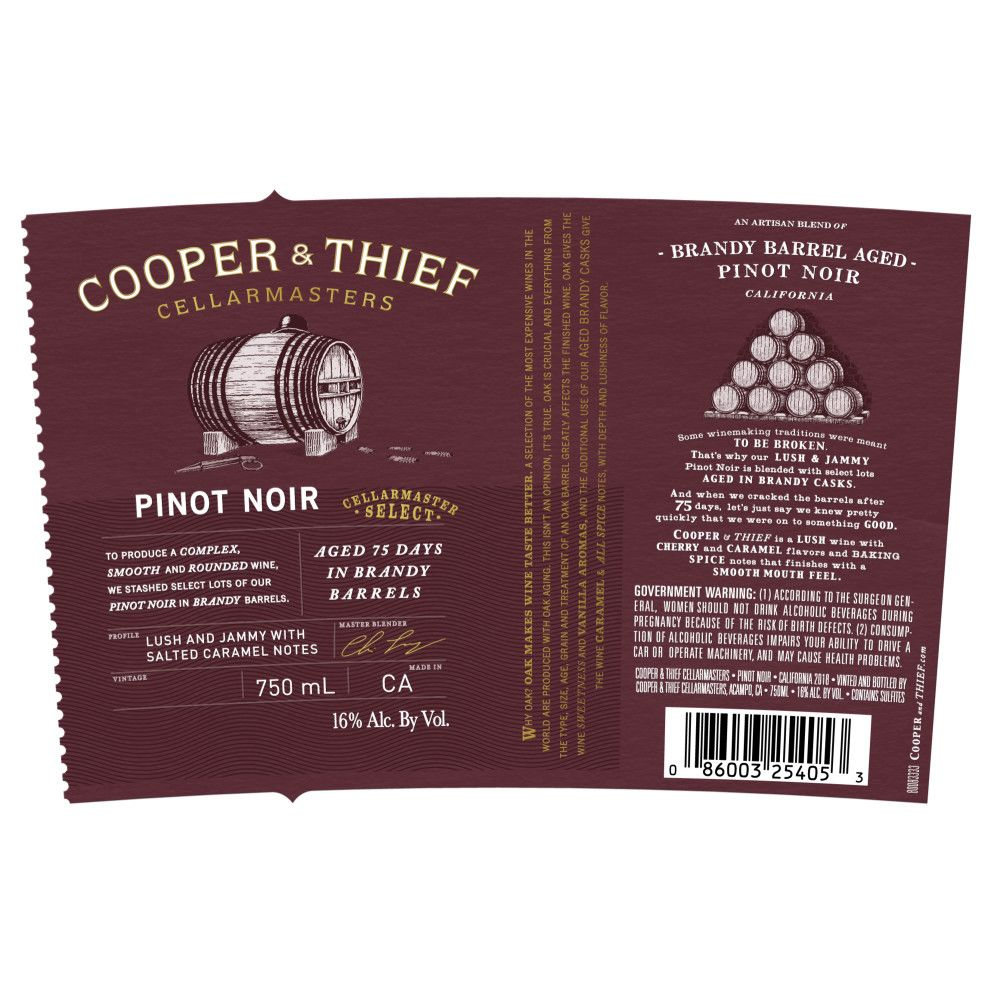 Cooper & Thief Brandy Barrel Aged Pinot Noir 2018  Front Label