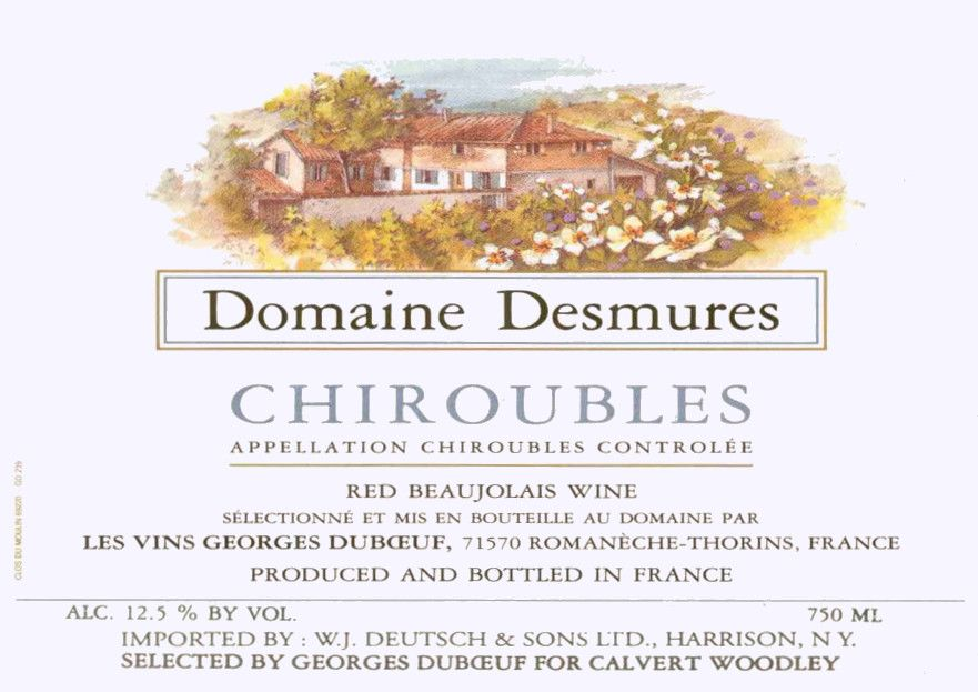 Duboeuf Chiroubles Domaine Desmures 2003  Front Label