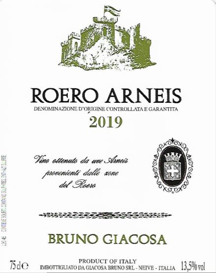 Bruno Giacosa Roero Arneis 2019  Front Label