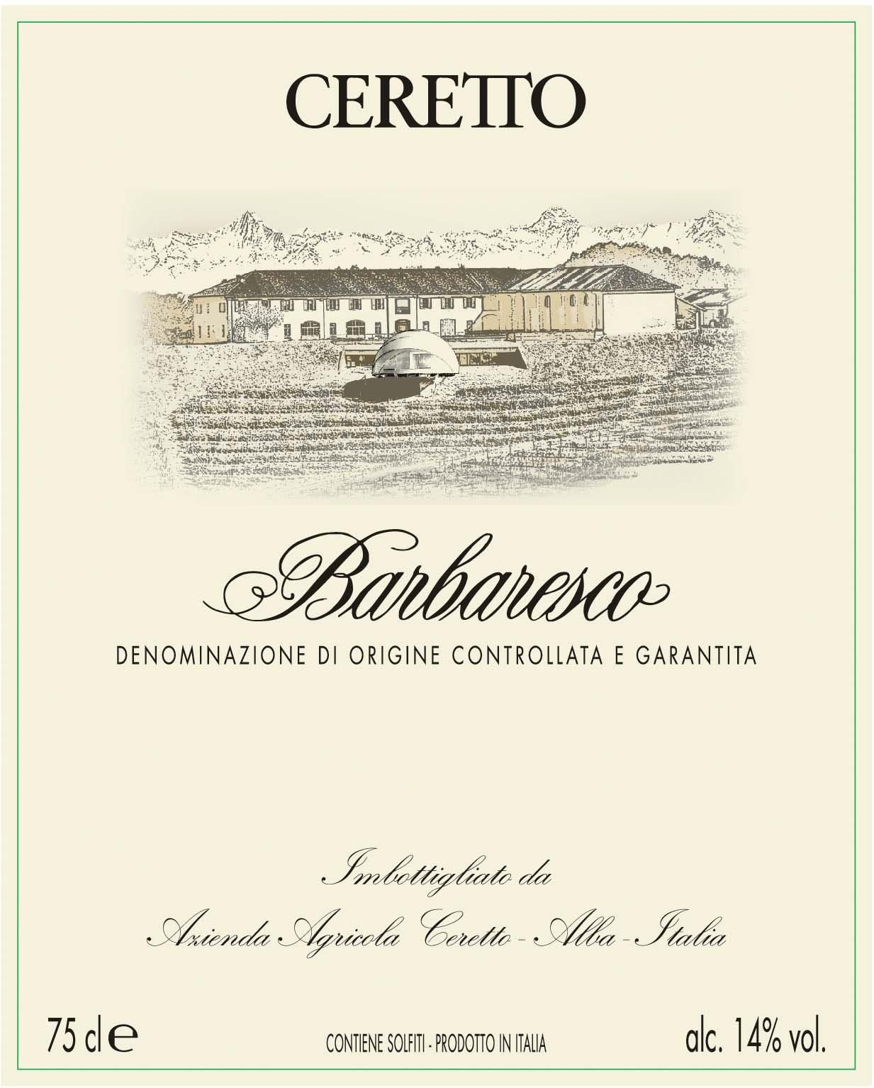 Ceretto Barbaresco 2016  Front Label