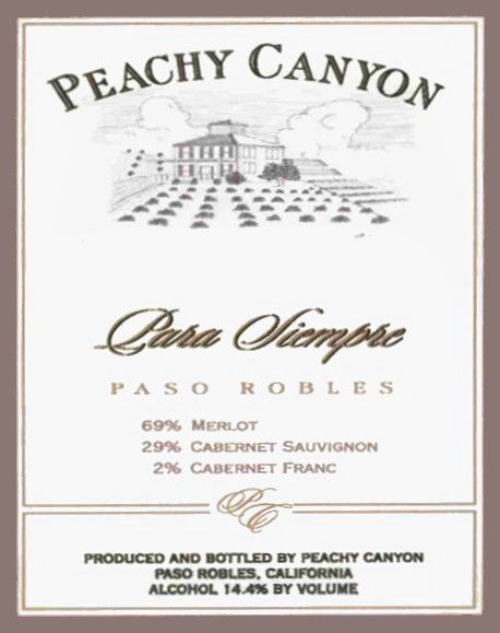 Peachy Canyon Para Siempre 2002 Front Label