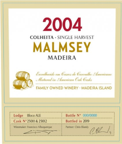 Blandy's Madeira Colheita Malmsey Single Harvest (500ML) 2004  Front Label