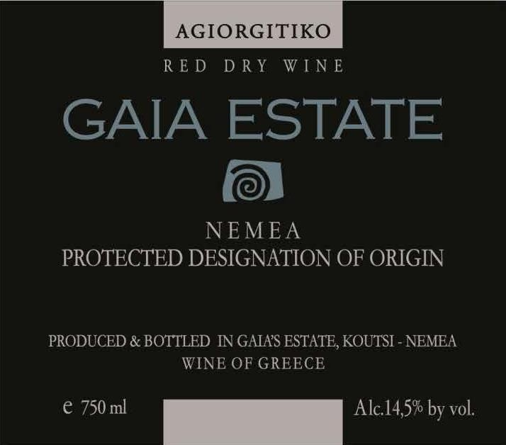 Gaia Estate Red 2016  Front Label