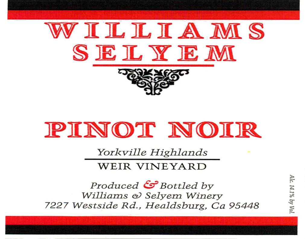 Williams Selyem Weir Vineyard Pinot Noir 2017  Front Label