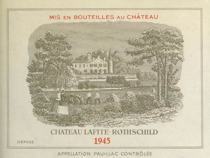Chateau Lafite Rothschild Pauillac 1945  Front Label