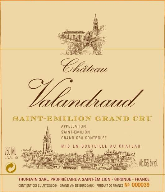Chateau Valandraud  1999  Front Label