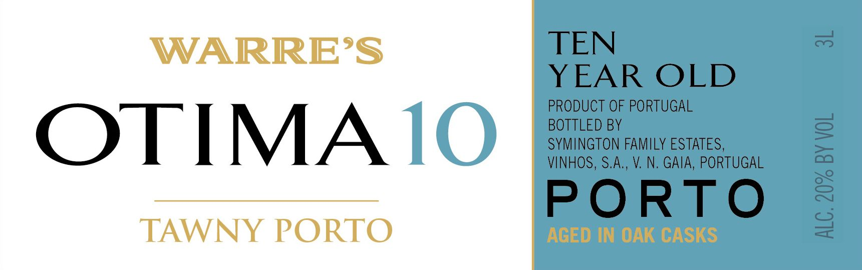Warre's Otima 10 Year Tawny Port (500ML)  Front Label