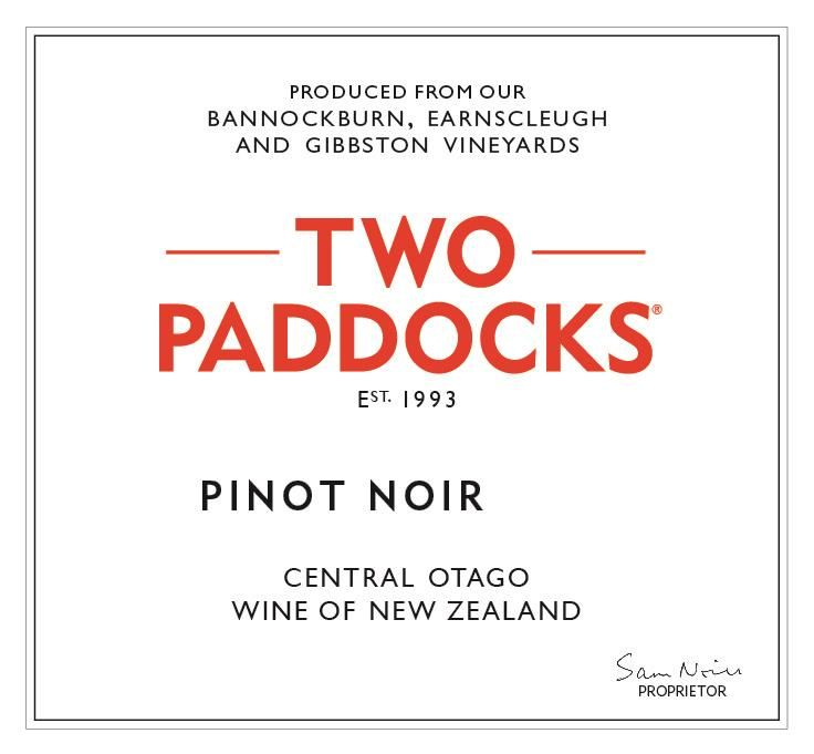 Two Paddocks Pinot Noir 2018  Front Label