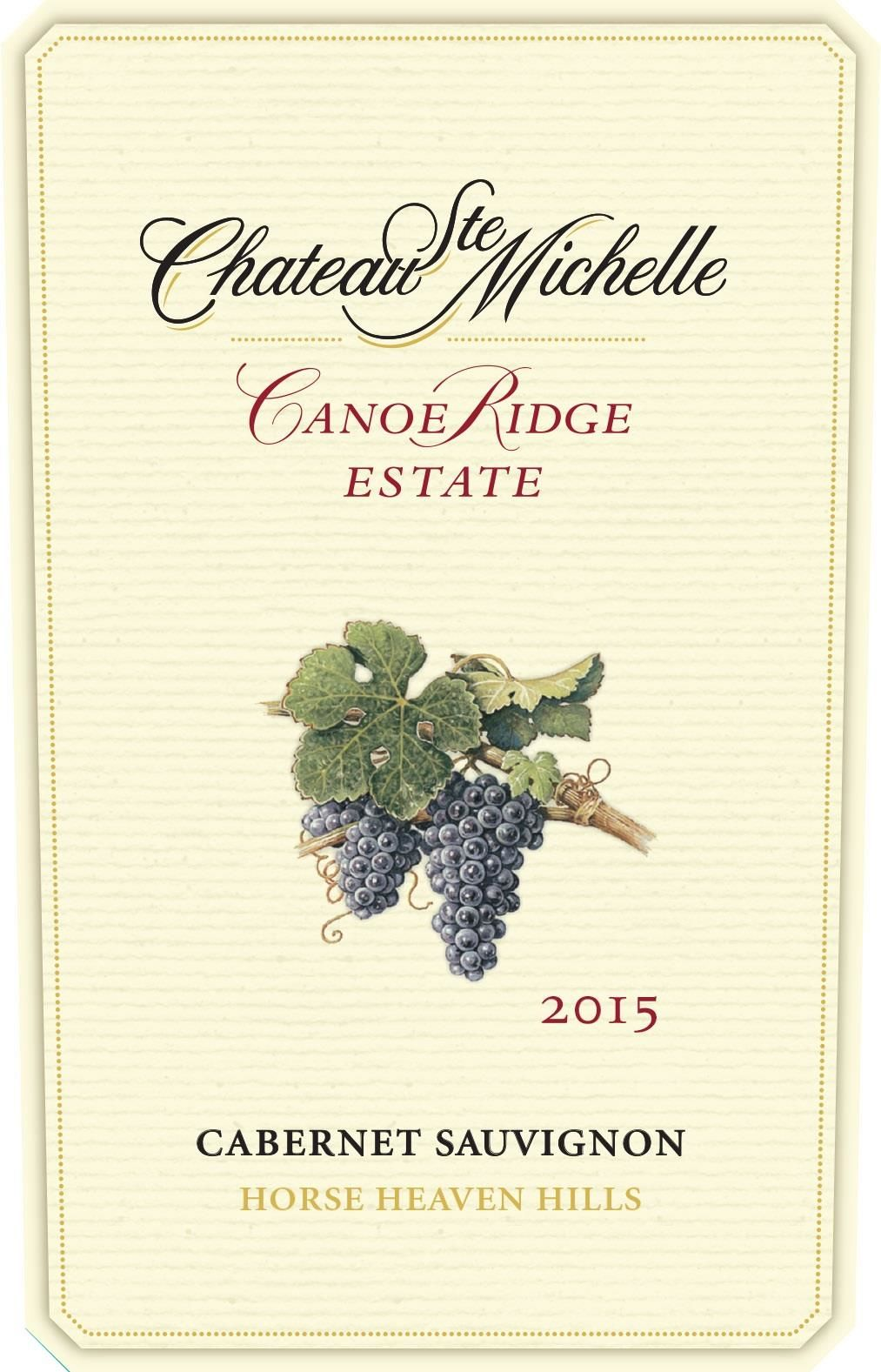 Chateau Ste. Michelle Canoe Ridge Estate Cabernet Sauvignon 2015 Front Label