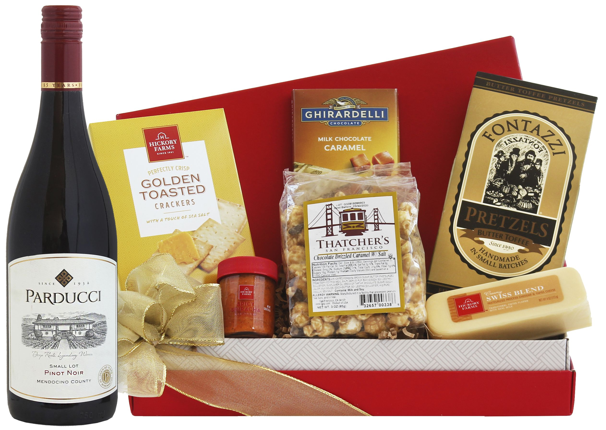 wine.com 90 Point Pinot Noir & Tempting Treats Gift Basket  Gift Product Image