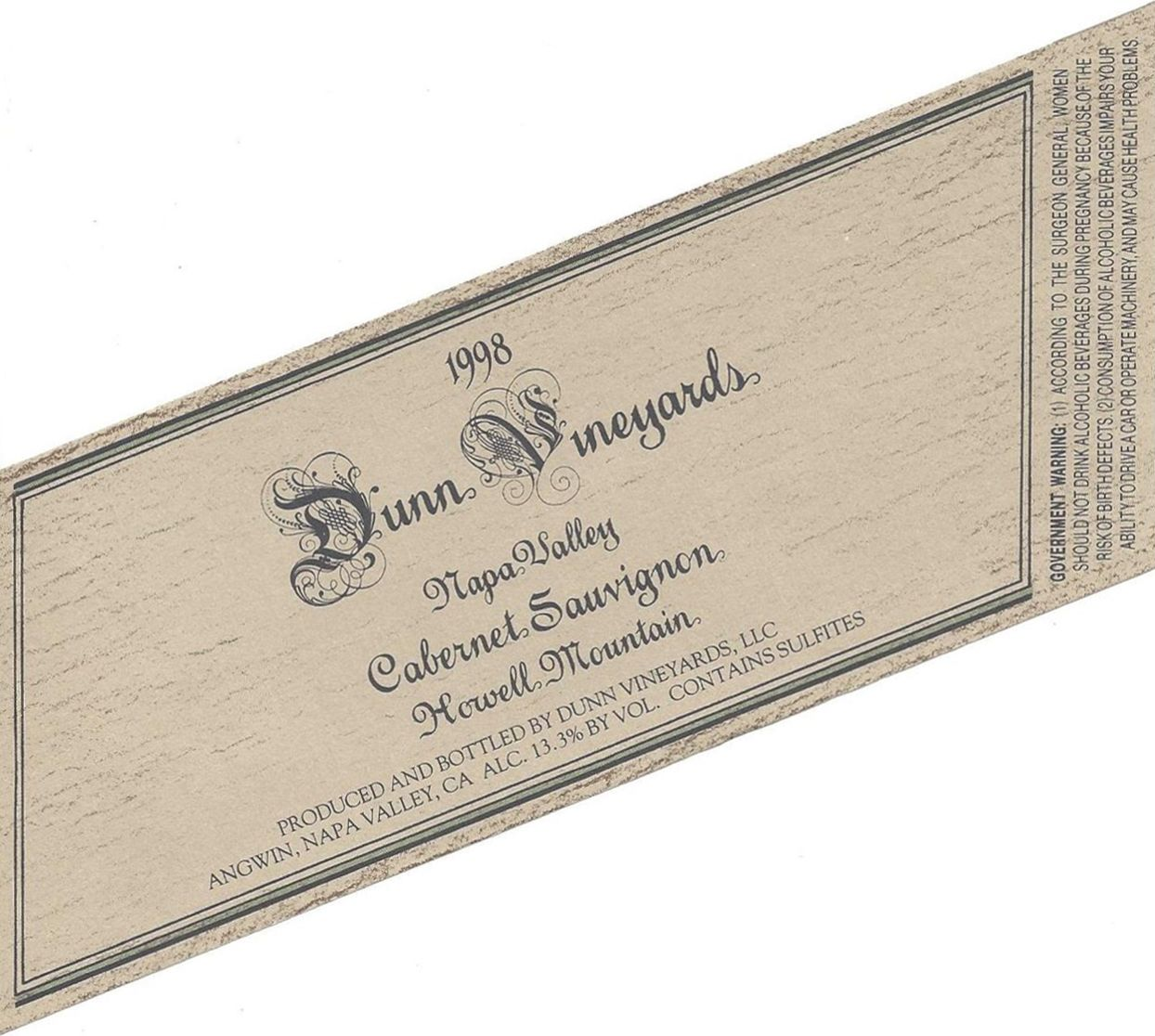 Dunn Howell Mountain Cabernet Sauvignon 1998  Front Label