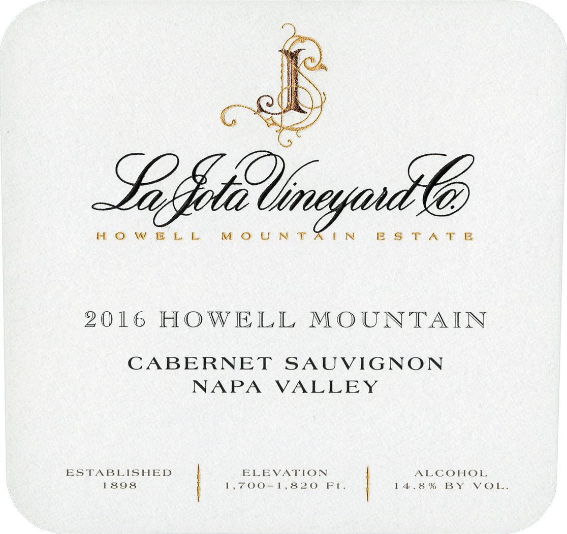 La Jota Howell Mountain Cabernet Sauvignon 2016  Front Label