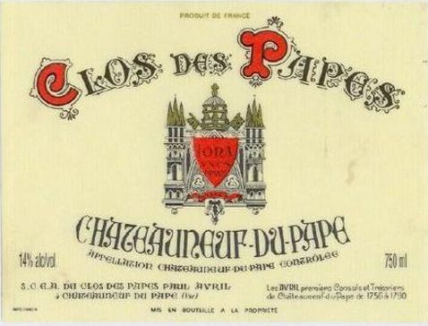 Clos des Papes Chateauneuf-du-Pape (3 Liter Bottle) 2006  Front Label