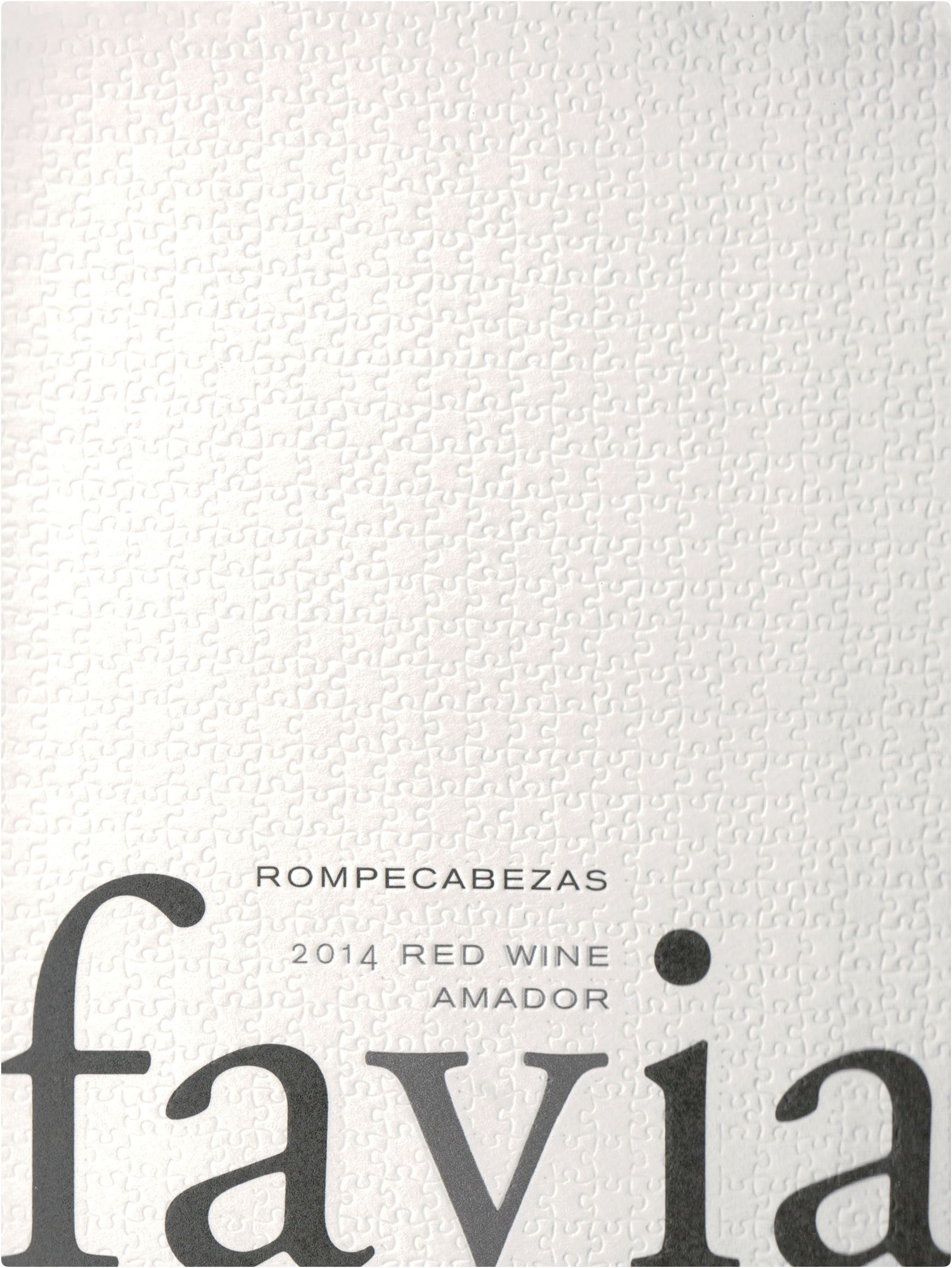 Favia Rompecabezas Red 2014  Front Label