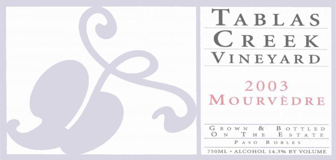 Tablas Creek Mourvedre 2003 Front Label