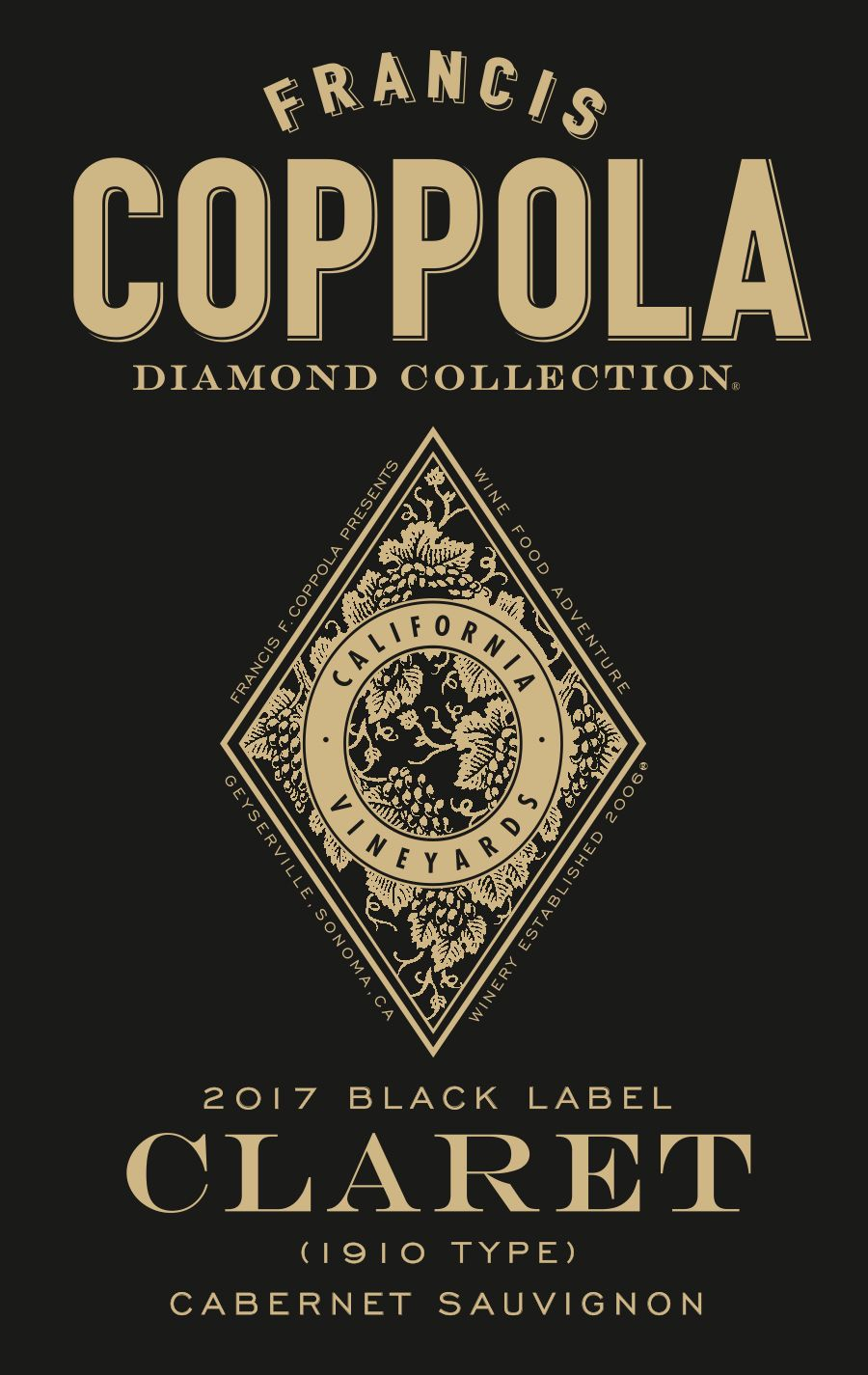 Francis Ford Coppola Diamond Collection Claret 2017  Front Label