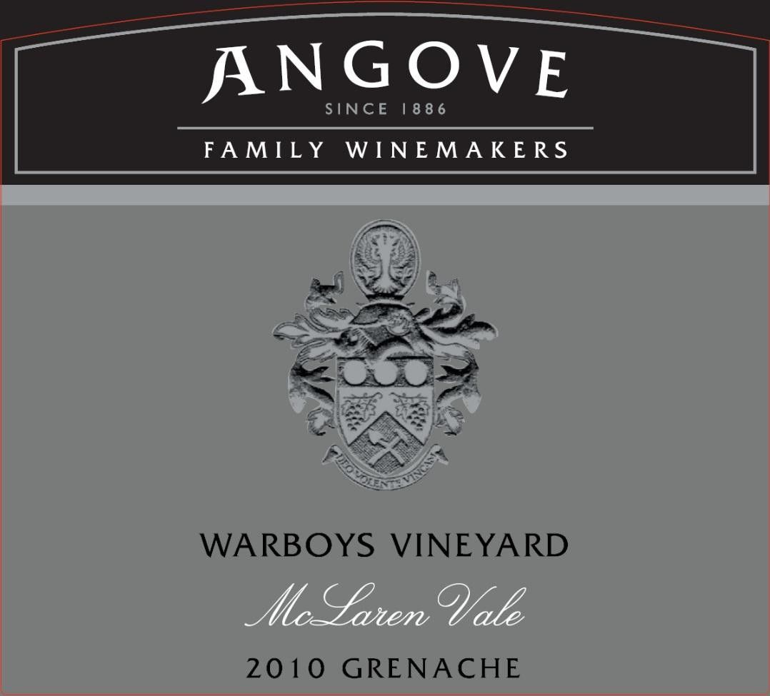 Angove Family Winemakers Warboys Vineyard Grenache 2010 Front Label