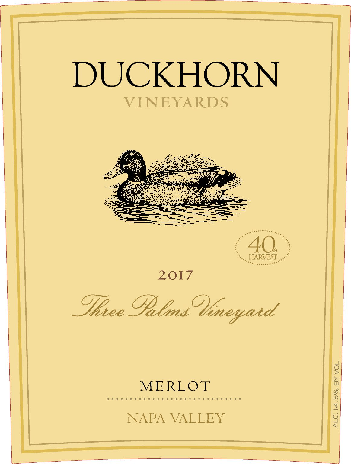 Duckhorn Three Palms Merlot (3 Liter Bottle)  2017  Front Label