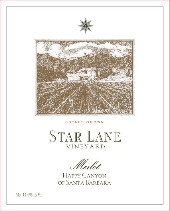 Star Lane Vineyard Merlot 2013 Front Label