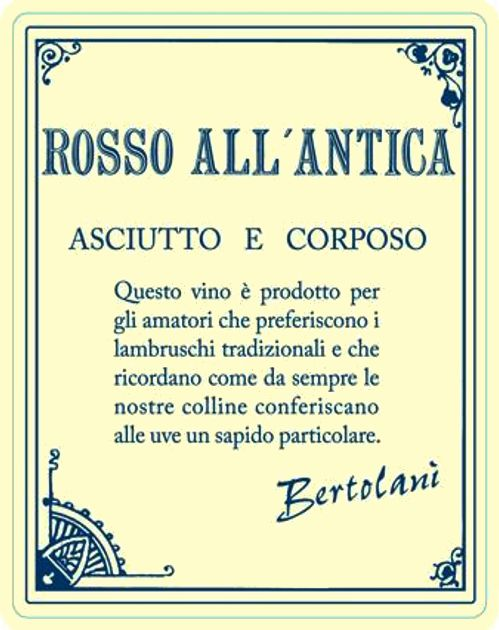 Alfredo Bertolani Rosso All'Antica Lambrusco  Front Label