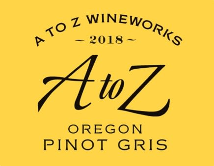 A to Z Pinot Gris 2018  Front Label