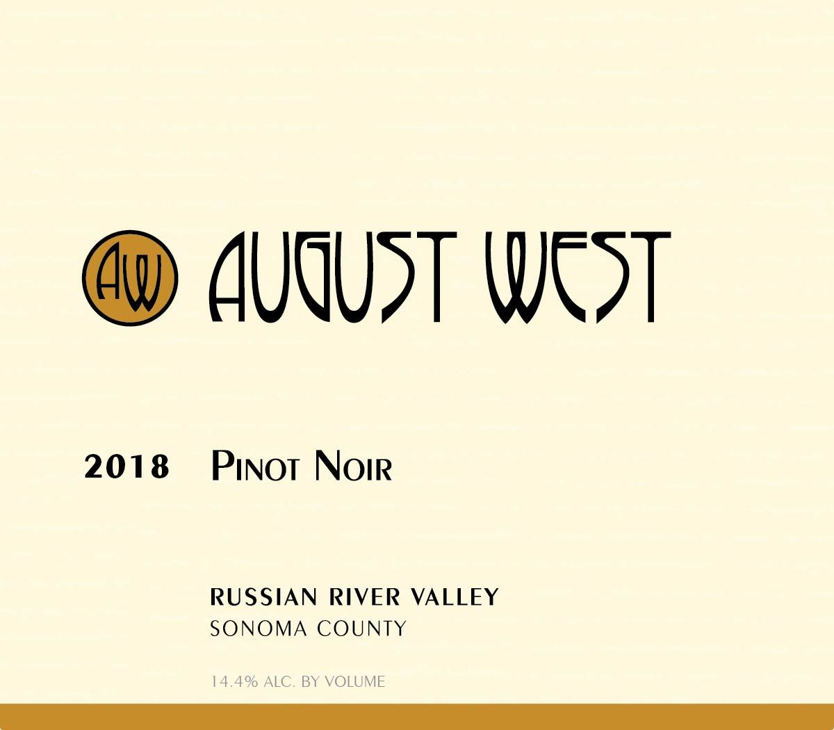 August West Russian River Valley Pinot Noir 2018  Front Label