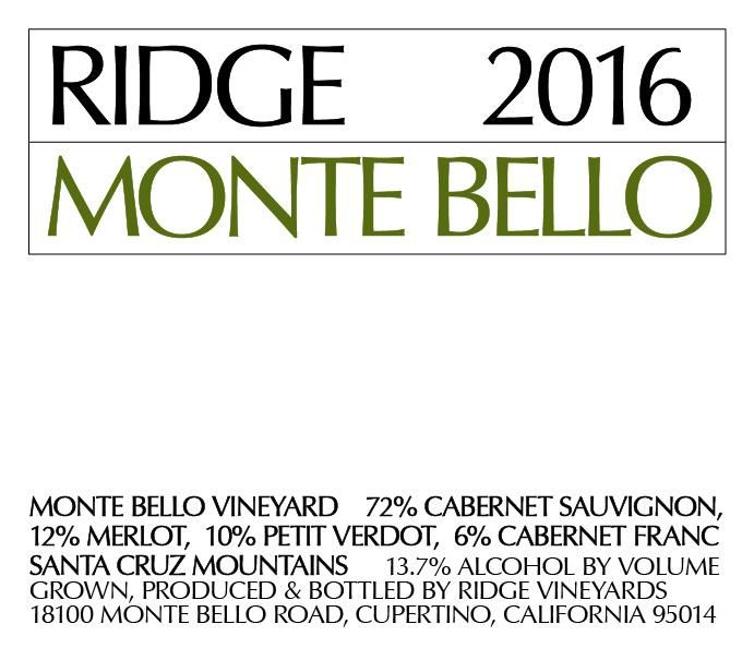 Ridge Monte Bello (1.5 Liter Magnum) 2016 Front Label