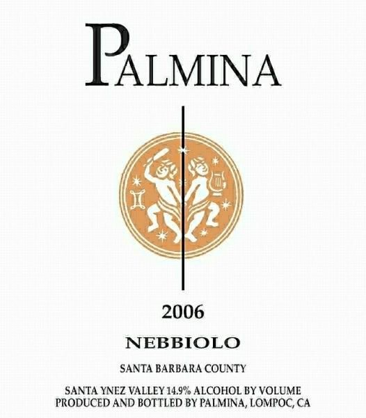 Palmina Santa Barbara County Nebbiolo 2006  Front Label