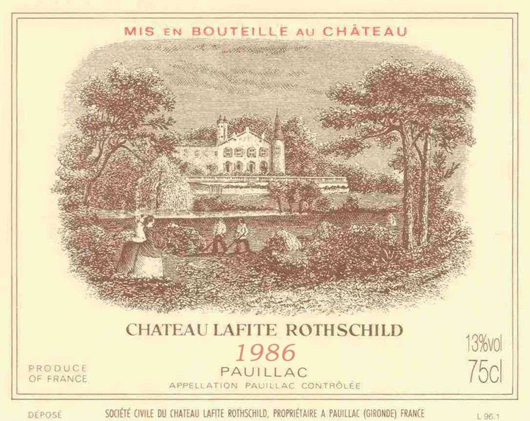 Chateau Lafite Rothschild  1986  Front Label