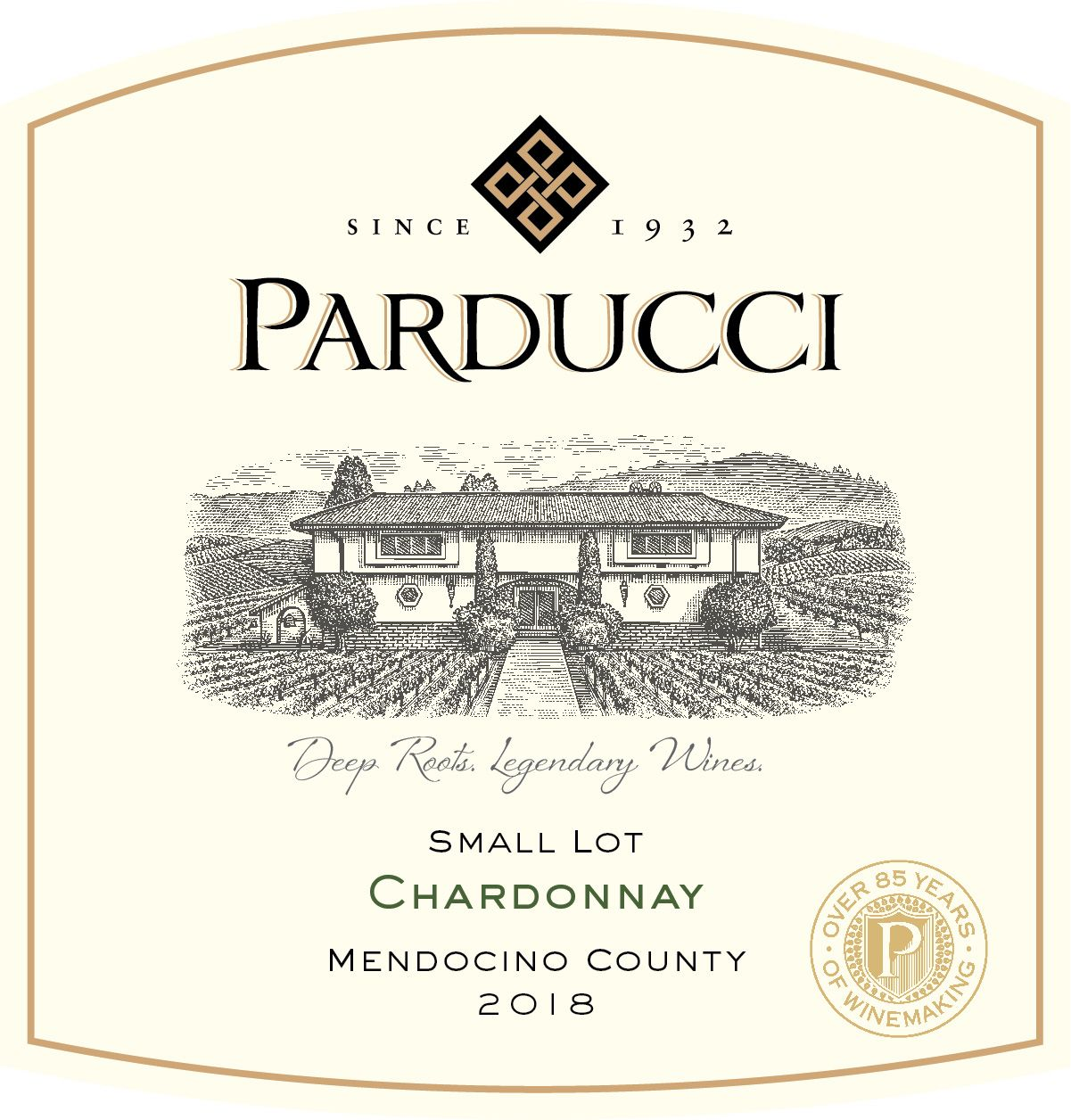 Parducci Small Lot Chardonnay 2018  Front Label