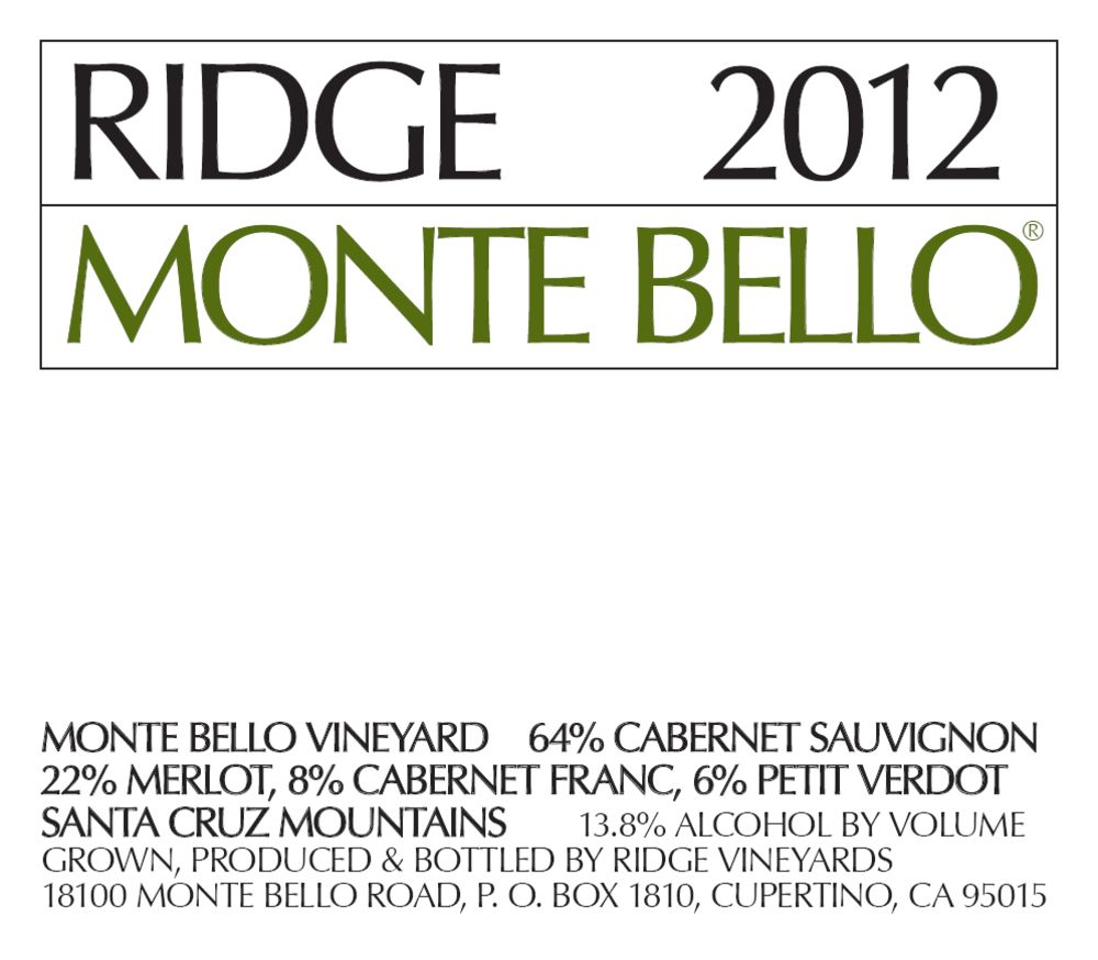 Ridge Monte Bello (1.5 Liter Magnum) 2012  Front Label