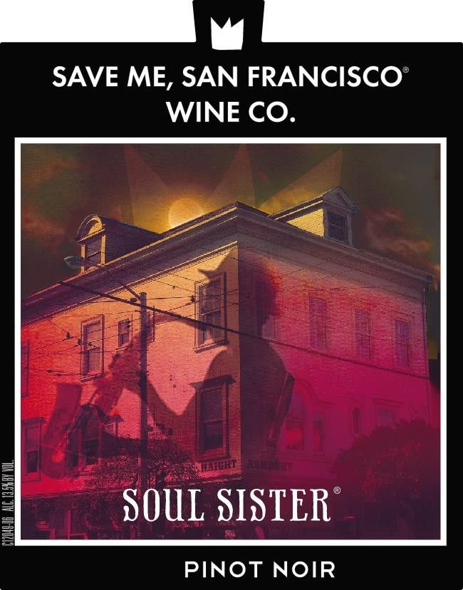 Save Me, San Francisco Soul Sister Pinot Noir 2018 Front Label