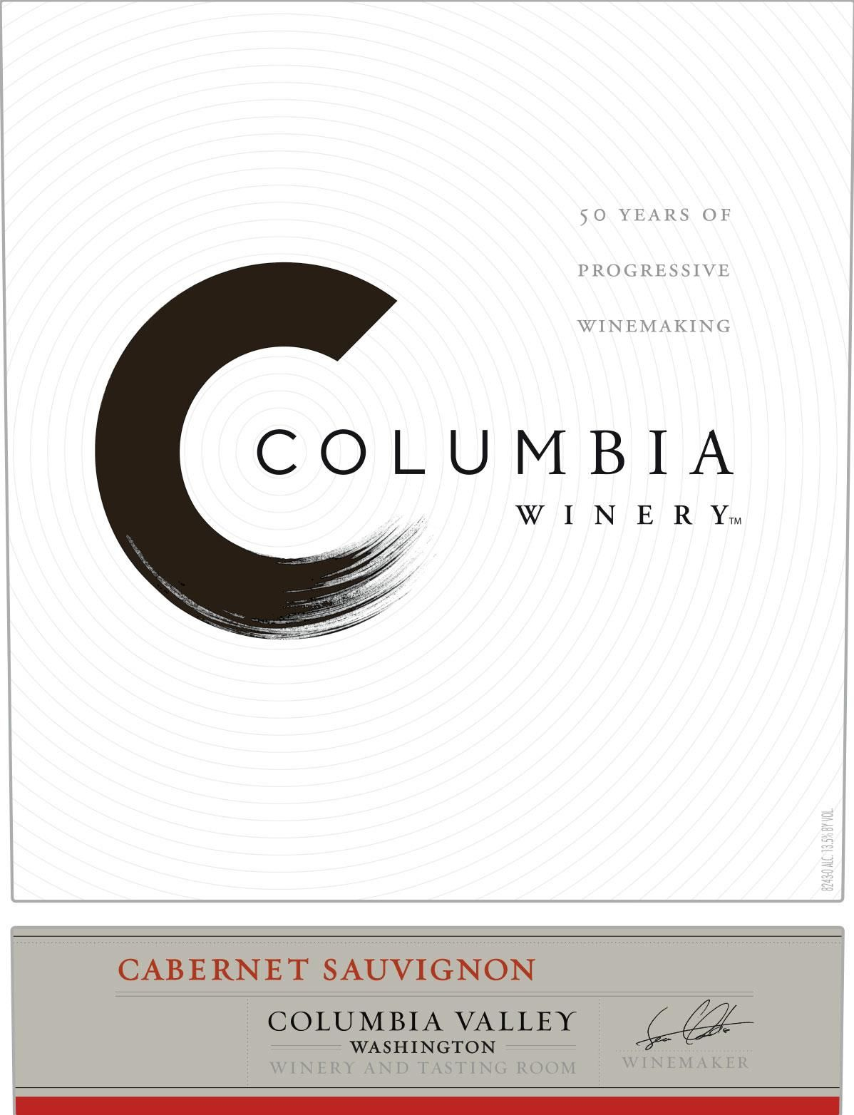Columbia Winery Cabernet Sauvignon 2018  Front Label