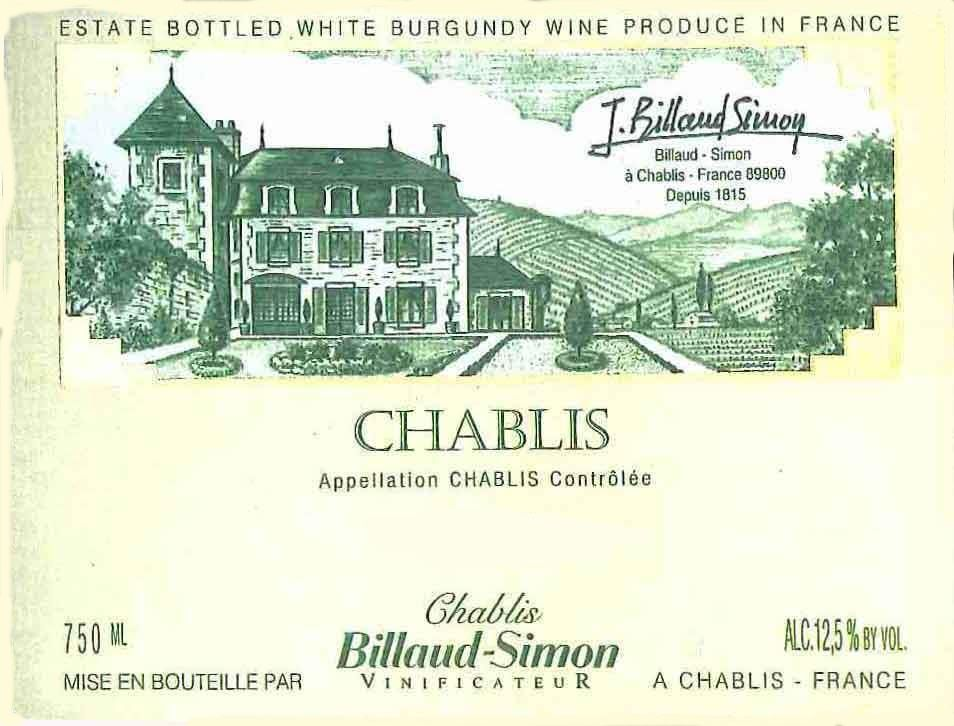 Billaud-Simon Chablis (375ML half-bottle) 2016 Front Label