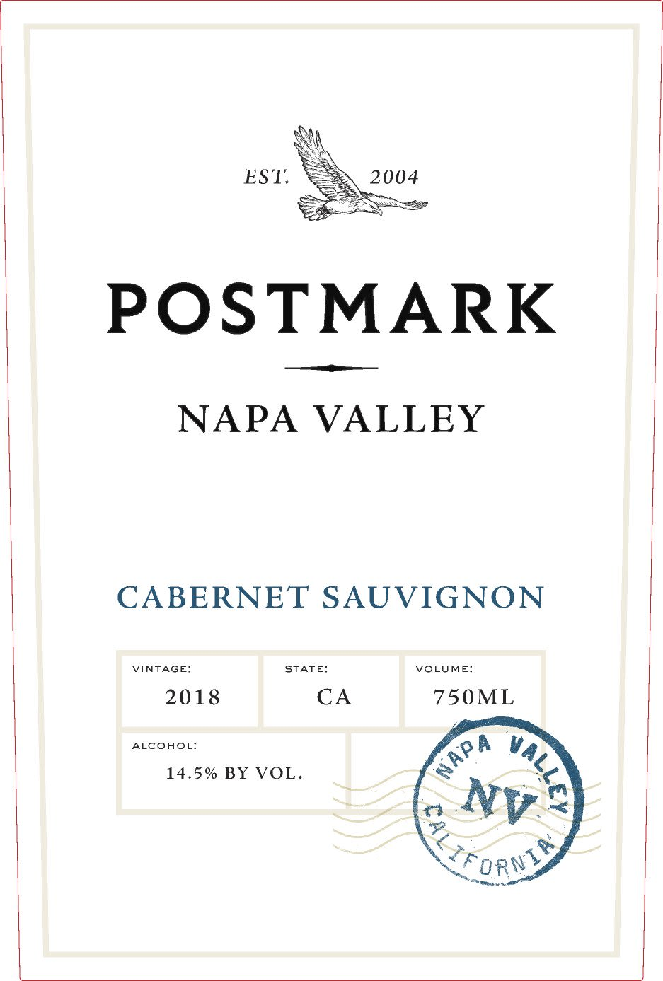 Postmark Napa Valley Cabernet Sauvignon 2018  Front Label