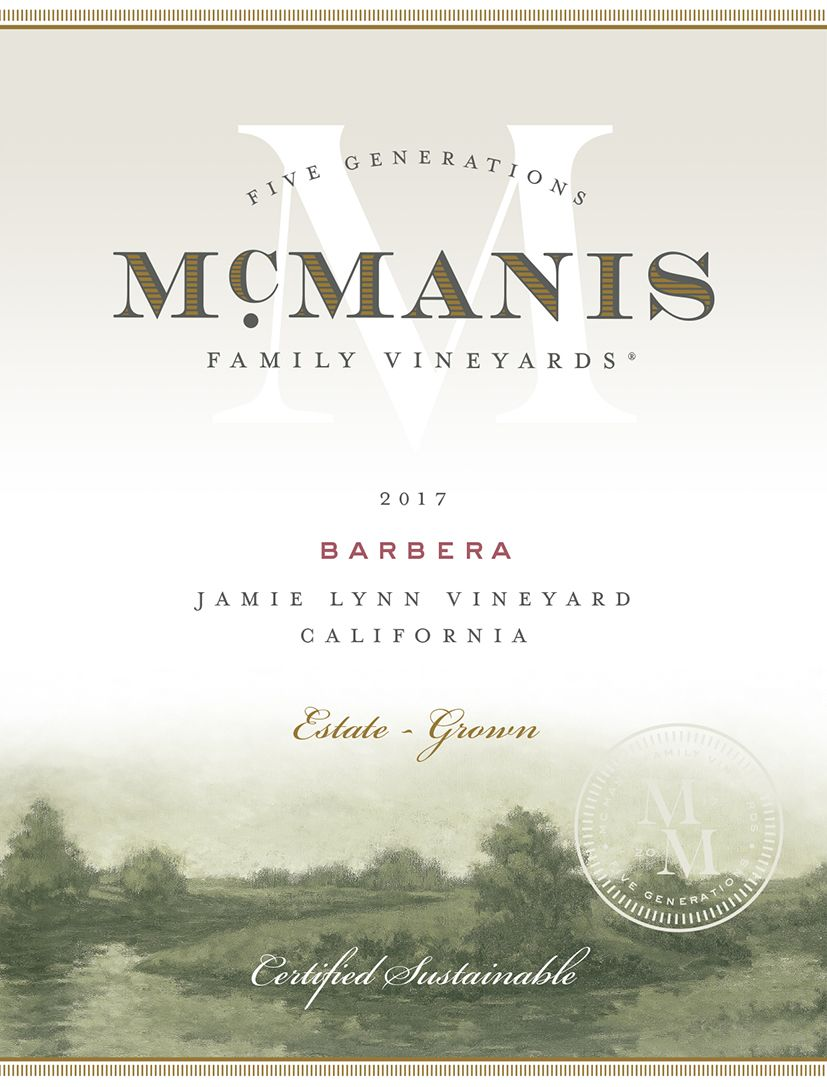 McManis Family Vineyards Barbera 2017  Front Label