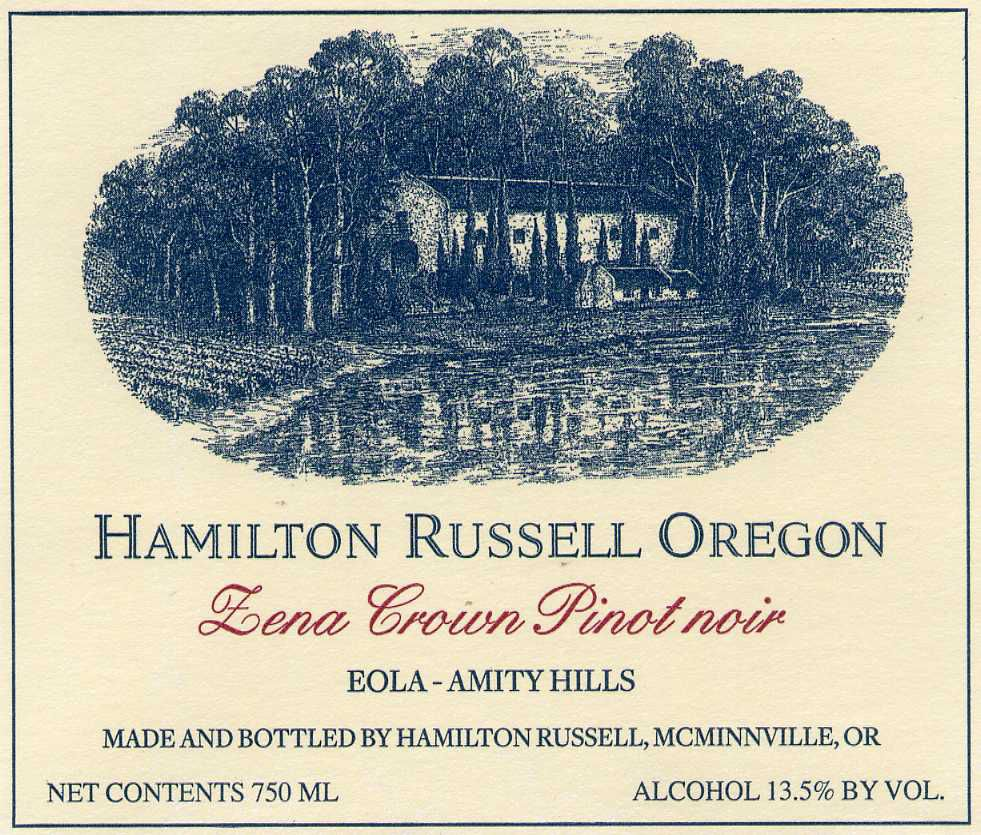 Hamilton Russell Zena Crown Eola-Amity Hills Pinot Noir 2018  Front Label