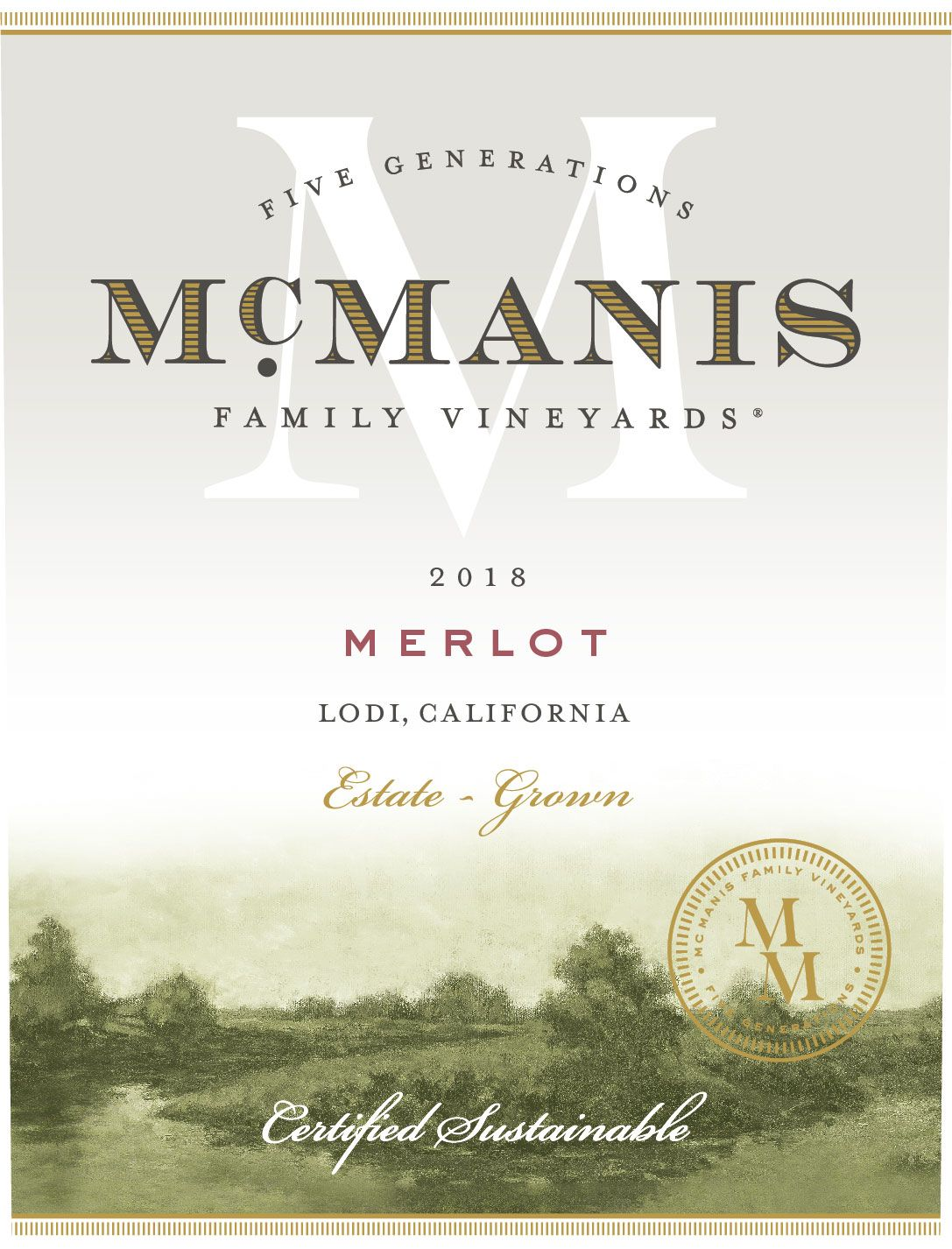 McManis Family Vineyards Merlot 2018  Front Label