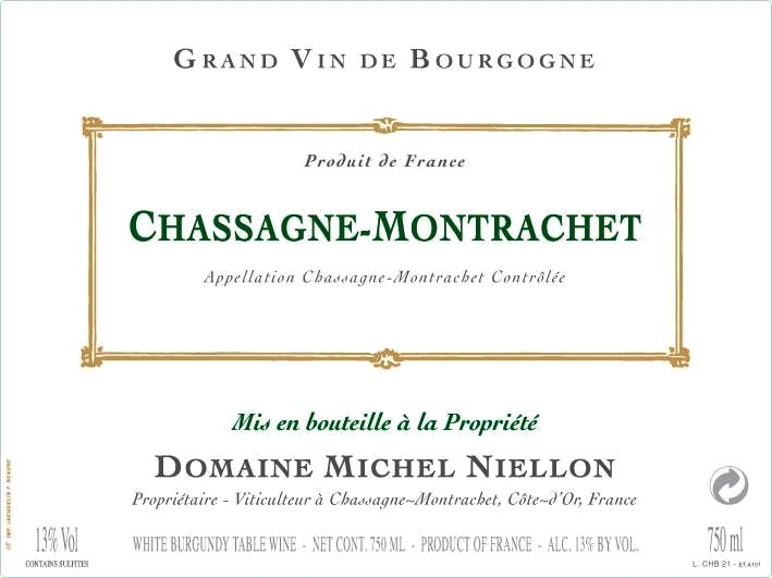 Domaine Michel Niellon Chassagne-Montrachet 2018  Front Label