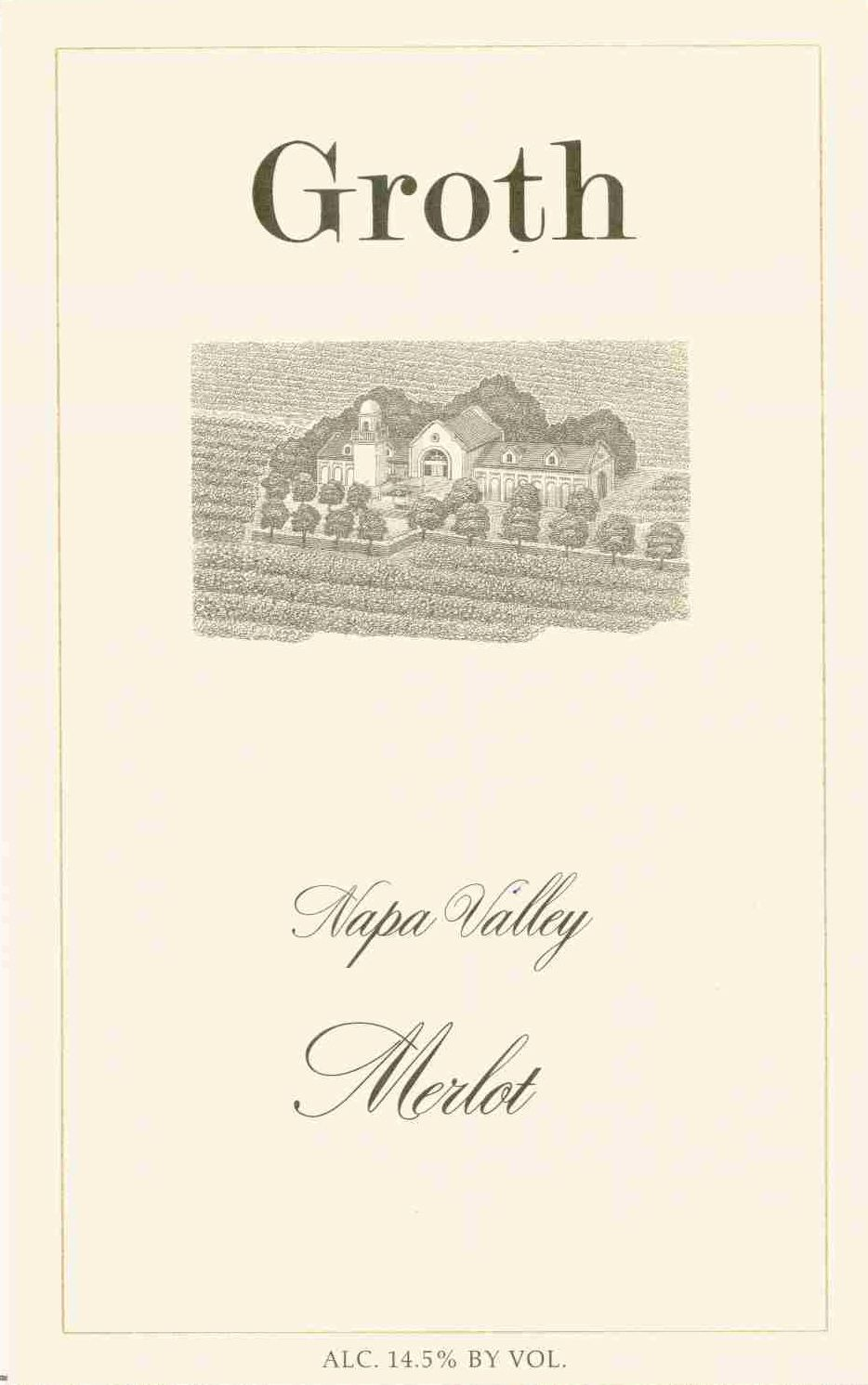 Groth Merlot 1991 Front Label