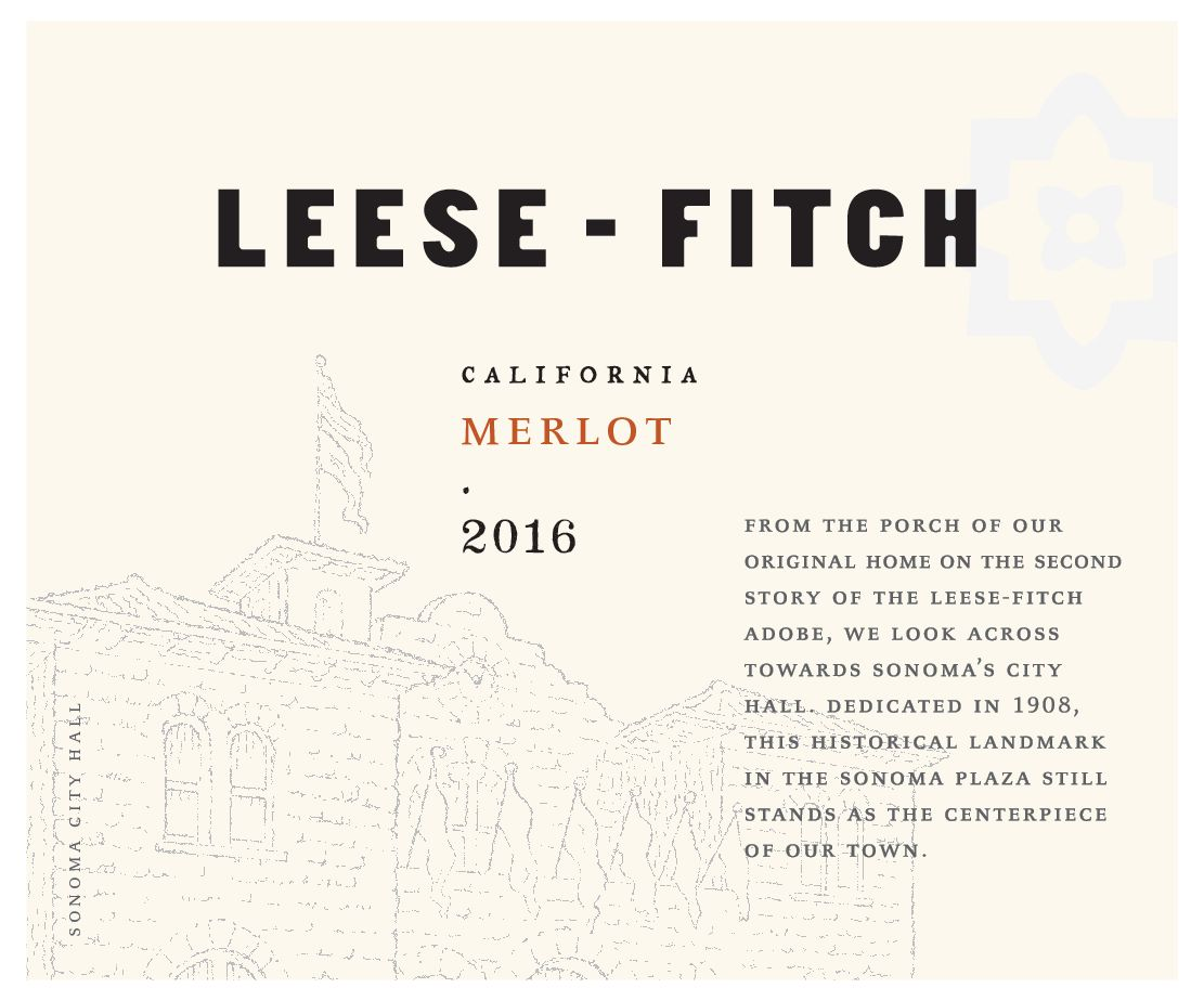 Leese-Fitch Merlot 2016  Front Label