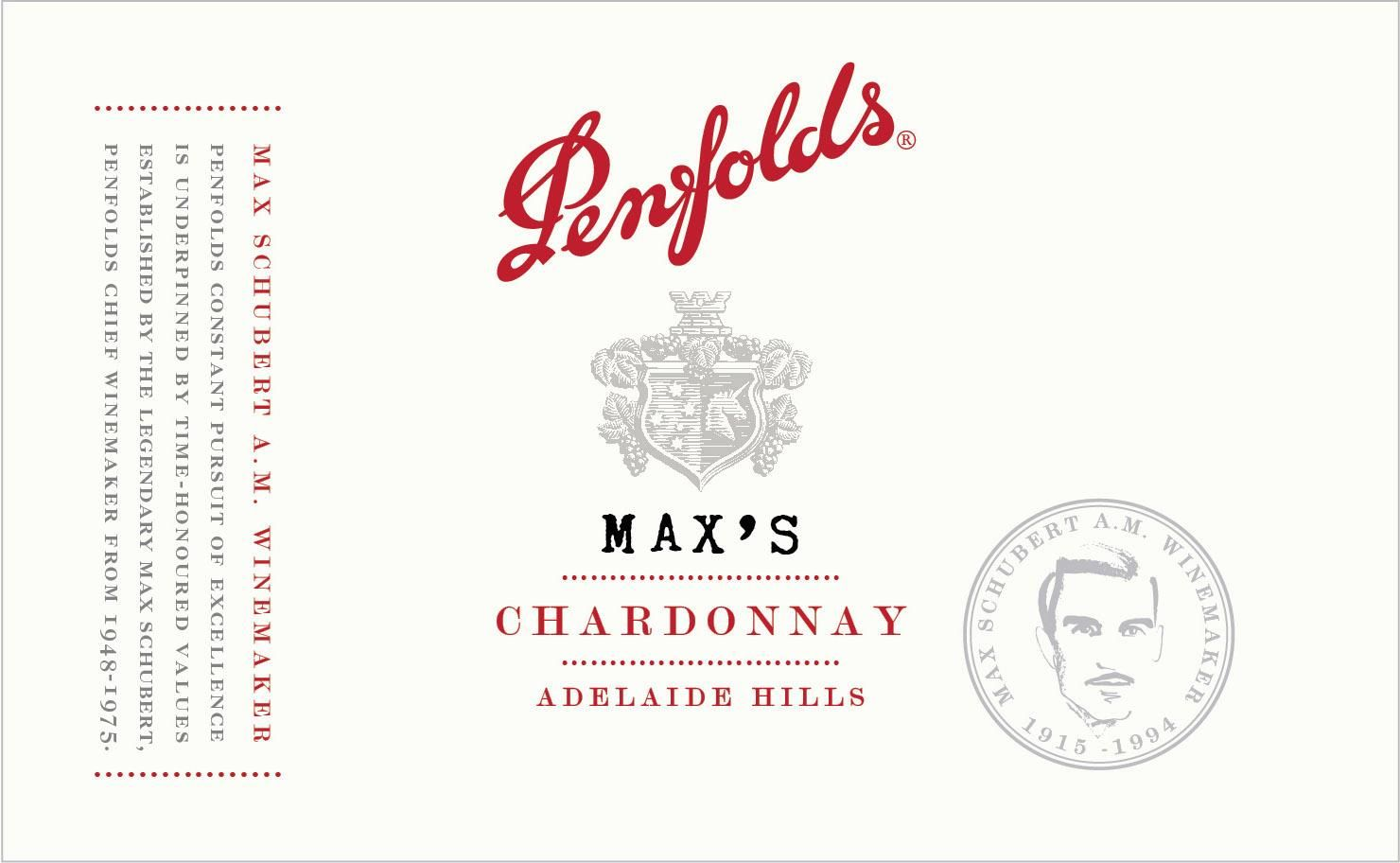 Penfolds Max's Chardonnay 2018  Front Label