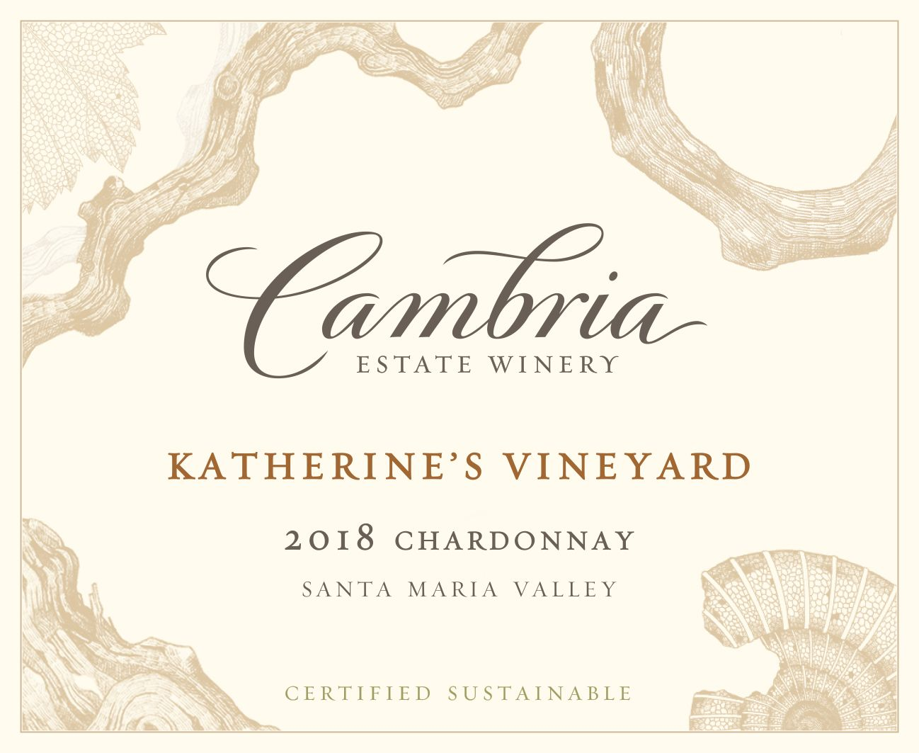 Cambria Katherine's Vineyard Chardonnay 2018  Front Label